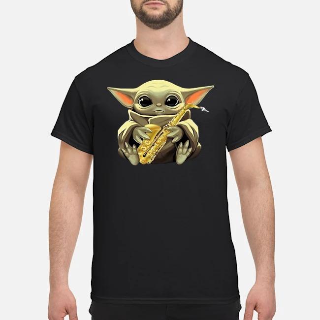 Baby Yoda Hug Saxophone Shirt