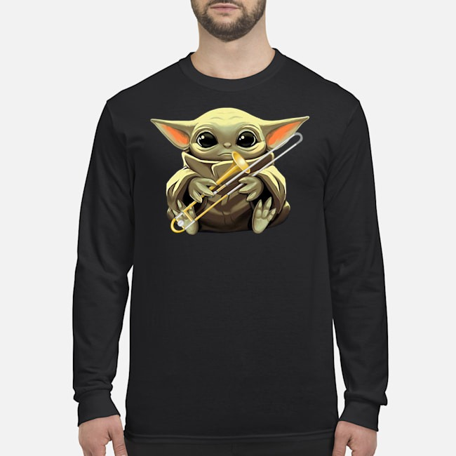Baby Yoda Hug Trombone Long Sleeved T-Shirt
