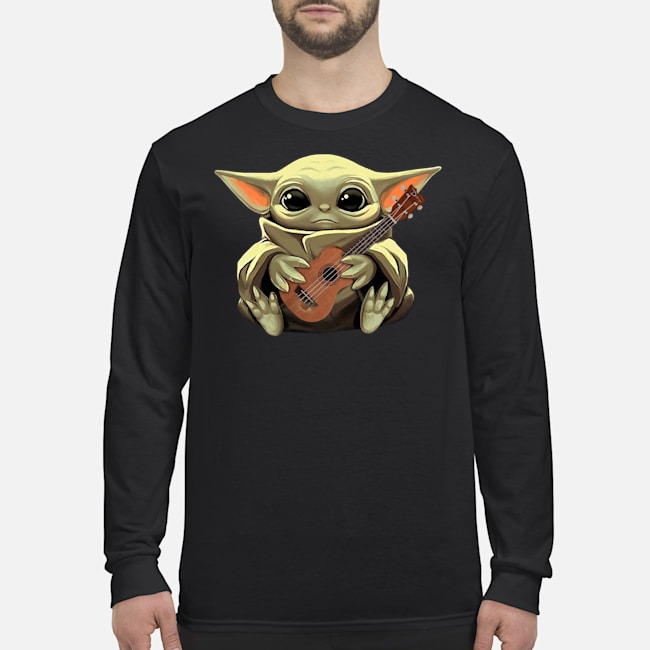 Baby Yoda Hug Ukulele Long Sleeved T-Shirt
