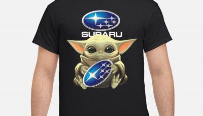 Baby Yoda hug Subaru logo Star Wars shirt