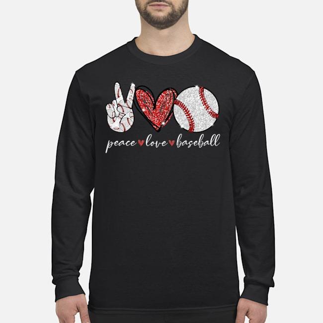 Peace Love Baseball Long Sleeved Shirt