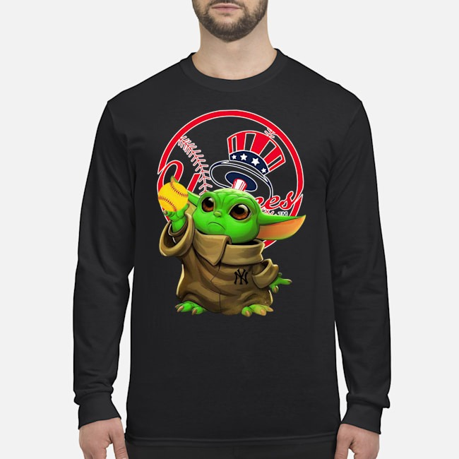 Star Wars Baby Yoda New York Yankees Long Sleeved Shirt
