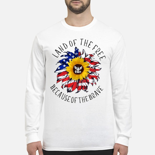 Sunflower American Flag Land Of The Free Because Of The Brave Long Sleeved T-Shirt