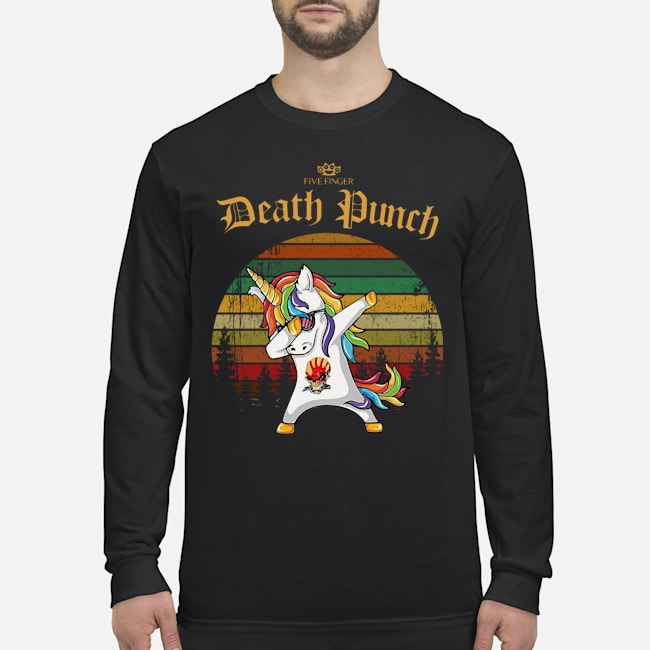 Unicorn Dabbing Five Finger Death Punch Vintage Long Sleeved T-Shirt