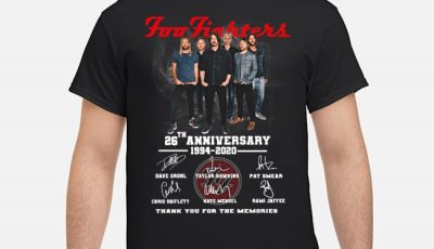 Foo Fighters 26th Anniversary 1994 2020 Thank You For The Memories Signatures Shirt