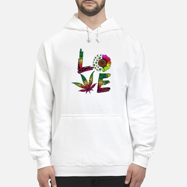 Love Sunflower And Weed Cannabis Marijuana Hoodie