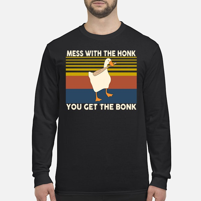 Duck Mess With The Honk You Get The Bonk Vintage Long-Sleeved
