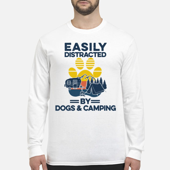 Easily Distracted By Dogs And Campers Vintage Long-Sleeved