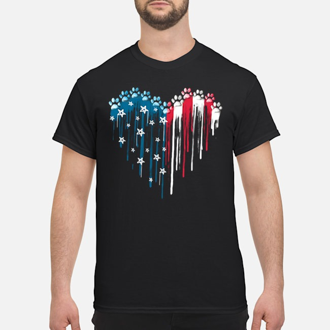 I love Heart Star Paw Dog American Flag Shirt