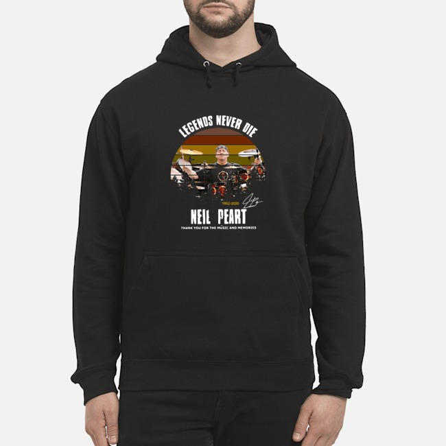 Legends Never Die 1952 2020 Neil Peart Thank You For The Music And Memories Signature Hoodie
