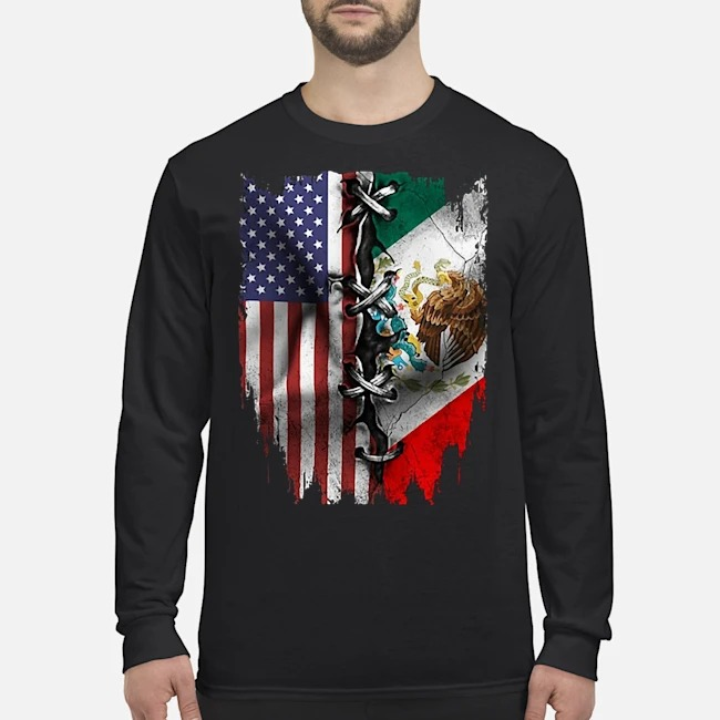 Mexican And American Flag Long-Sleeved