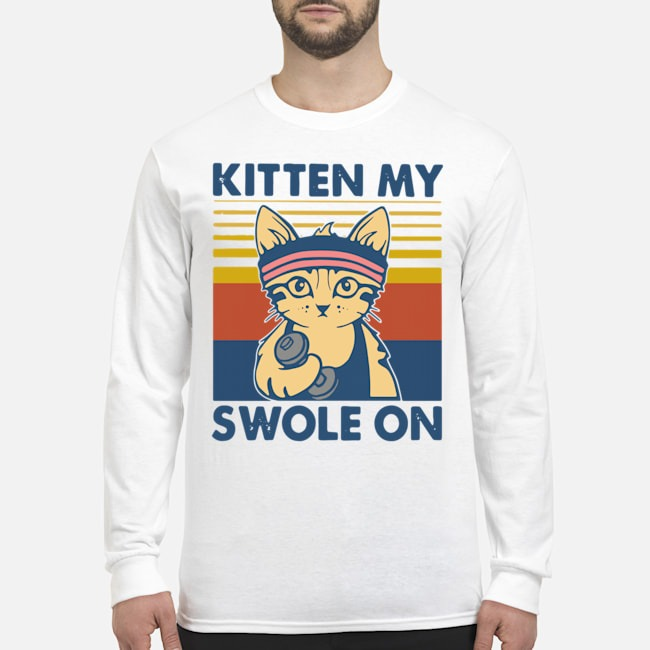 Strong Cat Kitten My Swole On Vintage Long-Sleeved