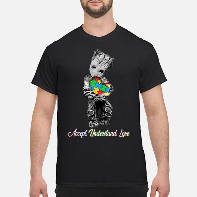 Baby Groot Hug Autism Heart Accept Understand Love Shirt