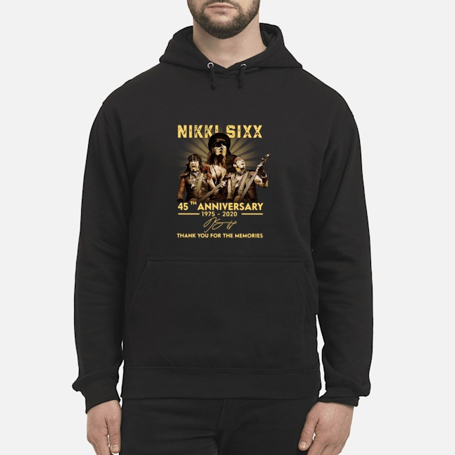 Nikki Sixx 45th Anniversary 1975 2020 Thank You For The Memories Signatures Hoodie