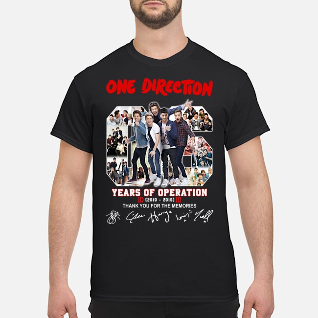 One Direction 06 Years Of Operation 2010 2016 Thank You For The Memories Signatures Shirt