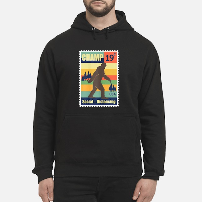 Social Distancing Champ Bigfoot Stamp 2020 Vintage Hoodie